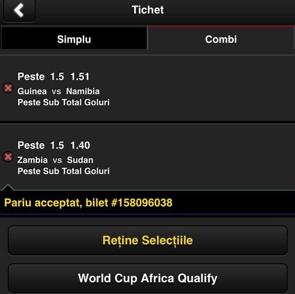biletul zilei pariuri fotbal 15 noiembrie Africa