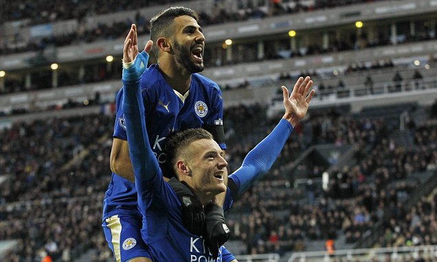 """Football - Newcastle United v Leicester City - Barclays Premier League - St James' Park - 21/11/15  Jamie Vardy celebrates with Riyad Mahrez after scoring the first goal for Leicester City to equal the record for scoring in consecutive Premier League games  Action Images via Reuters / Craig Brough  Livepic  EDITORIAL USE ONLY. No use with unauthorized audio, video, data, fixture lists, club/league logos or """"live"""" services. Online in-match use limited to 45 images, no video emulation. No use in betting, games or single club/league/player publications.  Please contact your account representative for further details."""
