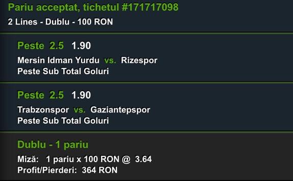 biletul zilei fotbal 22 decembrie Turcia