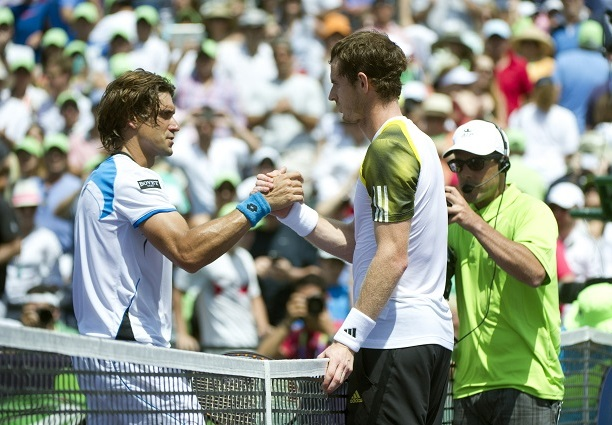 Miami, 31th March 2013  Andy Murray (GBR) wins the 2013 Sony Open after defeating  David Ferrer (ESP) 2-6 6-4 7-6(1) in the final.   Photo Ray Giubilo