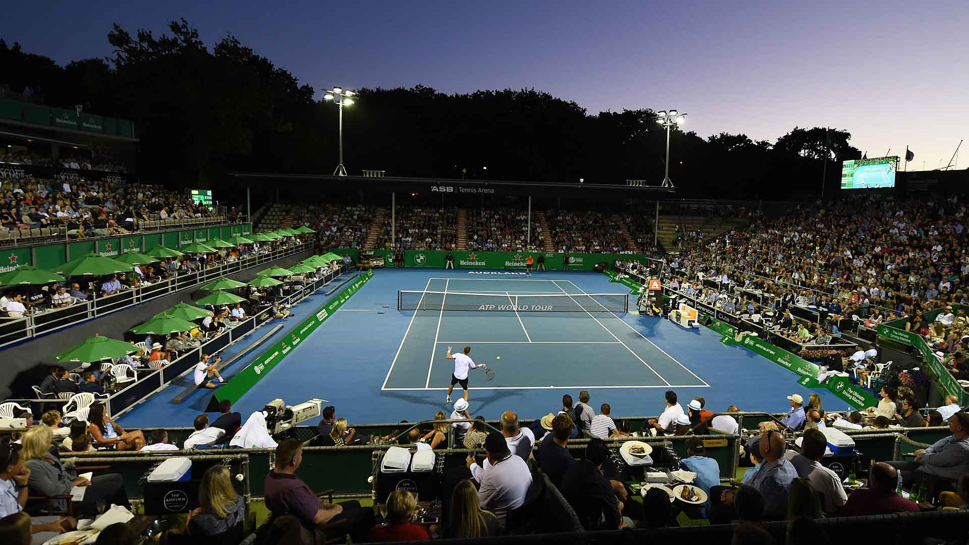 General view during the Michael Venus match on Day 2 at the Heineken Open.
