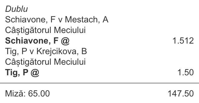 biletul zilei din tenis