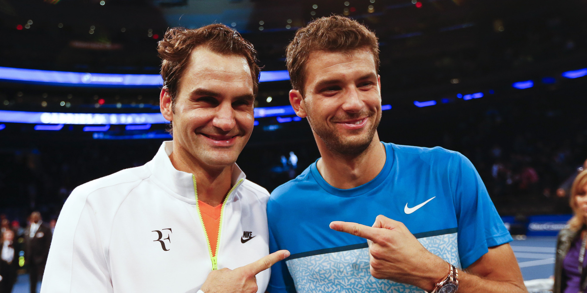 NEW YORK - MARCH 10:  Roger Federer of Switzerland and Grigor Dimitrov of Bulgaria pose for a photo after the BNP Paribas Showdown at Madison Square Garden on March 10, 2015 in New York City.  (Photo by Jeff Zelevansky/Getty Images)