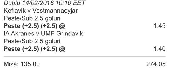 biletul zilei fotbal islanda 14 februarie