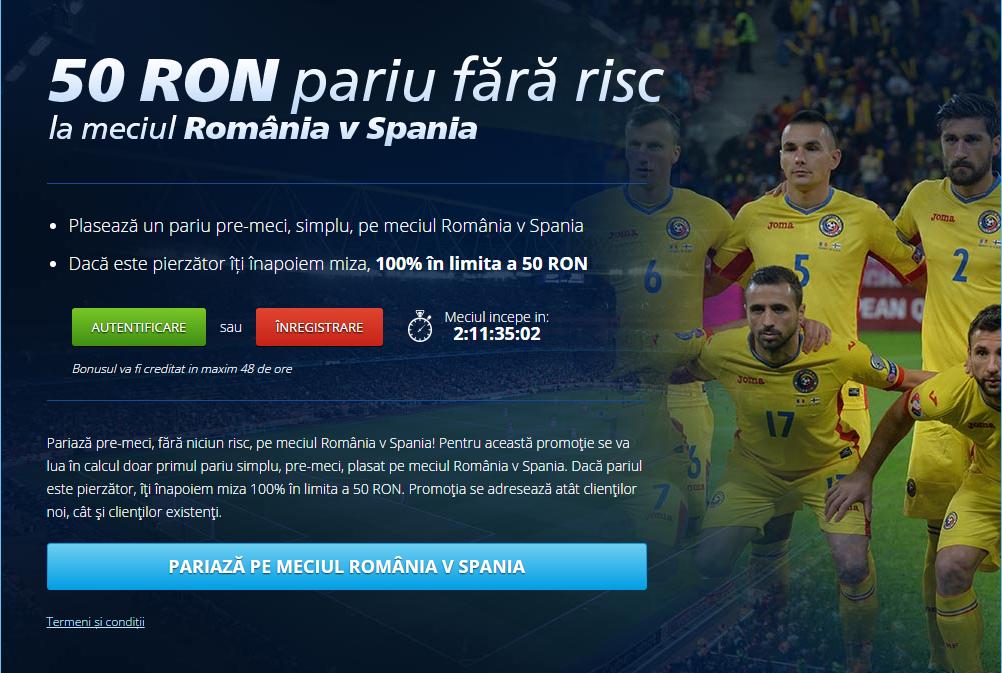 50 RON BONUS de la Sportingbet daca pariezi pe Romania vs Spania