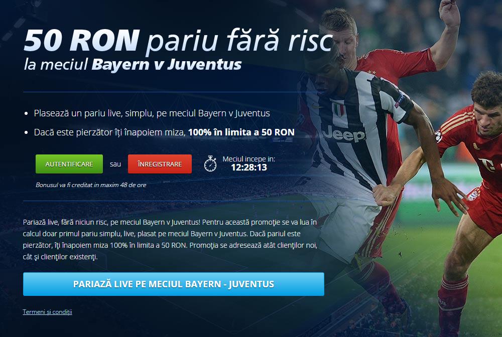 50 RON pariu fara risc pentru partida Bayern vs Juventus