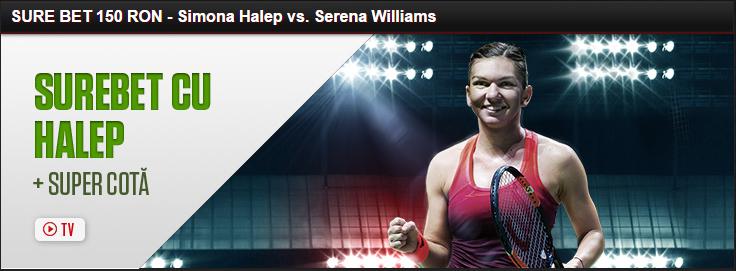 Sure Bet de 150 RON pentru meciul Halep vs Williams
