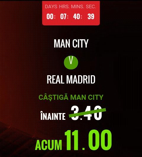 5 cote peste 2 la Manchester City- Real Madrid