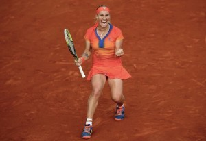 French Tennis Open match at the Roland Garros stadium in Paris
