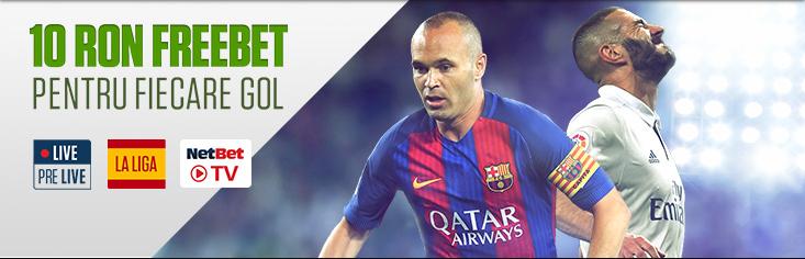 Promotie NetBet | 10 RON Freebet pentru golurile din La Liga