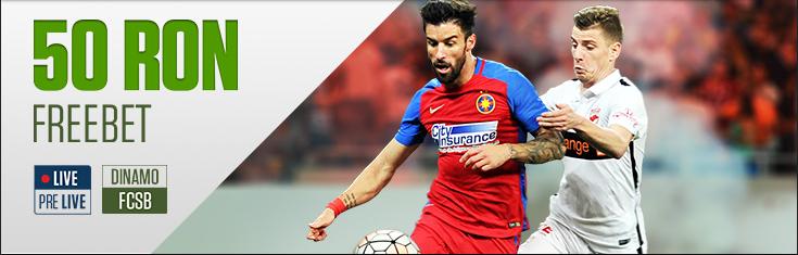 Primesti gratis 50 RON daca pariezi si pierzi pe Dinamo vs FCSB