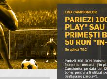 Bonus 50 RON daca pariezi pe meciurile din Liga Campionilor