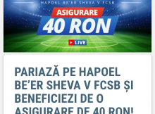 Sportingbet iti asigura pariul plasat pe Hapoel Beer Sheva vs FCSB