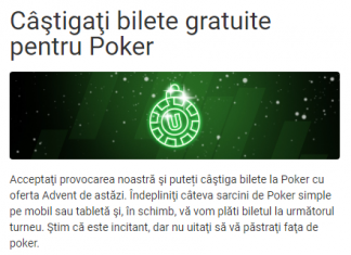 Azi, la Unibet, câştigaţi bilete gratuite pentru Poker