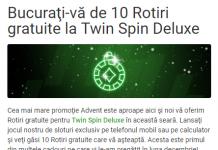 Azi, la Unibet, bucuraţi-vă de 10 Rotiri gratuite la Twin Spin Deluxe