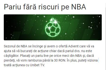 Azi, la Unibet, pariu fără riscuri pe NBA