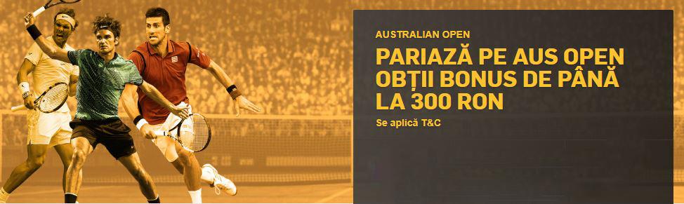 Pariaza pe Australian Open si ai pana la 300 RON Bonus!