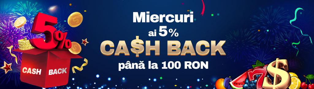 La Winbet, miercuri ai 5% CASHBACK pana la 100 RON!