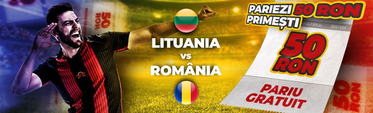 50 RON pariu gratuit daca pariezi pe Lituania vs Romania!